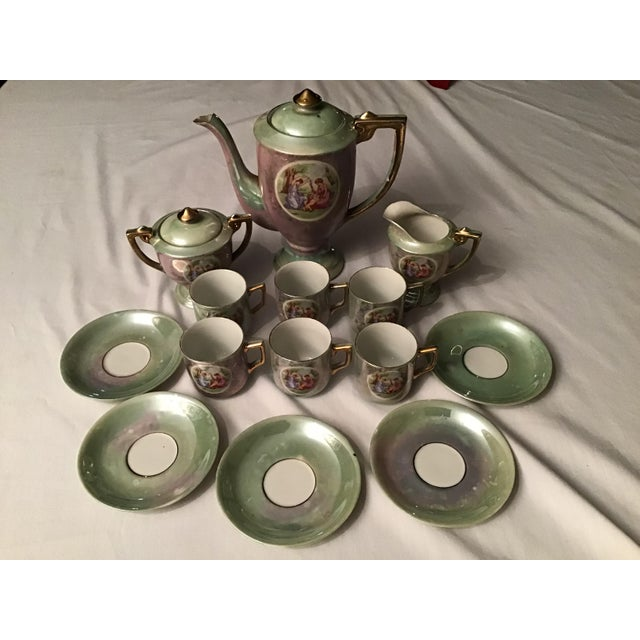 Vintage Hand Painted Angelica Kauffmann Style Tea Service - Set of 14 For Sale - Image 11 of 11