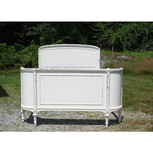 Antique Solid Wood White Painted Cottage Shabby Chic Double Full Bed C.1920's For Sale - Image 13 of 13
