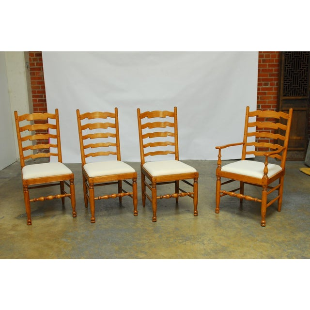 English Ladder Back Dining Chairs - Set of 8 - Image 3 of 10
