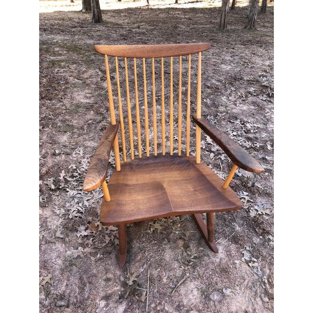 Modern Nakashima Studio Mixed Wood Lounge Rocking Chair For Sale - Image 12 of 13