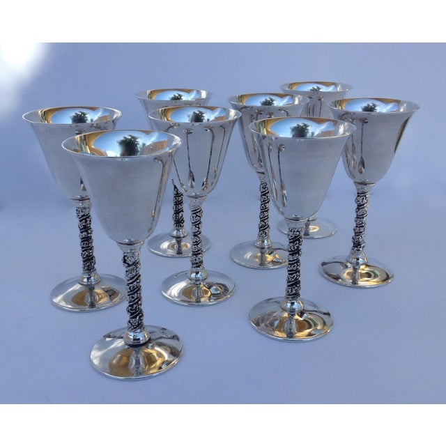 "Vintage Silver Plate Spanish ""Valerio"" Drinks Cordials - Set of 8 For Sale - Image 11 of 11"