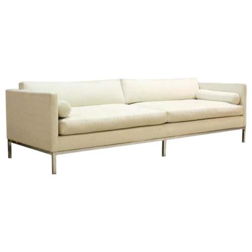 Mid Century Modern B&b Italia Chrome Base Sofa Italy 1970s Baughman Era For Sale