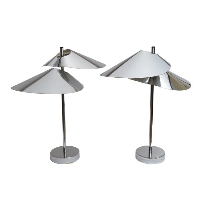 Curtis Jere Double Sided 'Visor' Table Lamps in Chrome, A Pair For Sale - Image 10 of 10