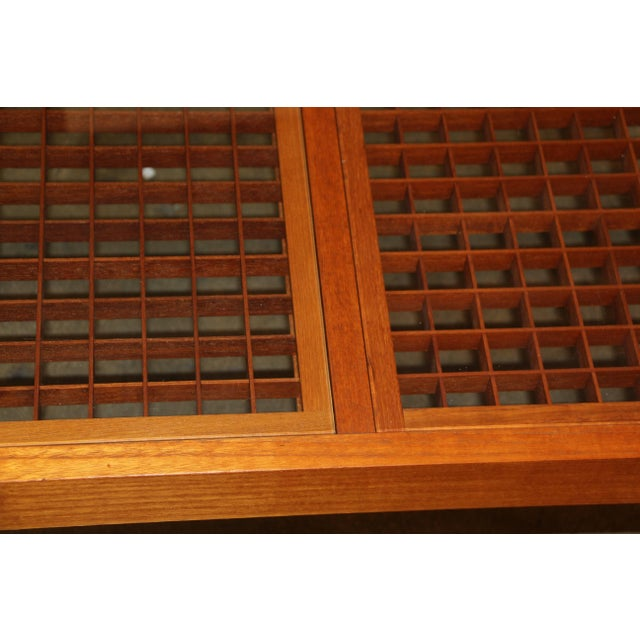 Wood Artisan Craft Made Lattice Top Coffee Table For Sale - Image 7 of 10