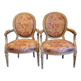 Image of Antique Louis XV French Arm Chairs- a Pair For Sale