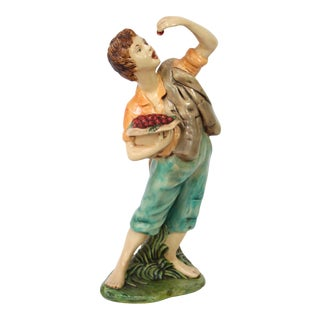 Vintage Hand Painted Ceramic Statue of Boy Eating Crab Apples, Artist Signed For Sale