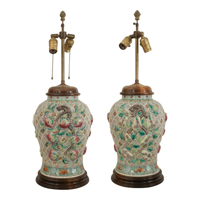Pair of Asian Chinese Style Large Ginger Jar Shaped Porcelain Lamps For Sale