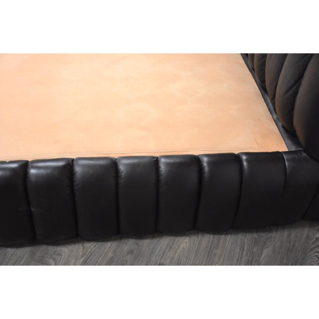 Leather Jay Spectre Black Leather Queen Bed For Sale - Image 7 of 11