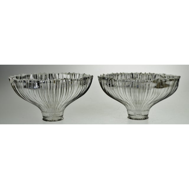 Art Deco Art Nouveau 1905 Franklin Ribbed Glass Light Shades - a Pair For Sale - Image 3 of 12