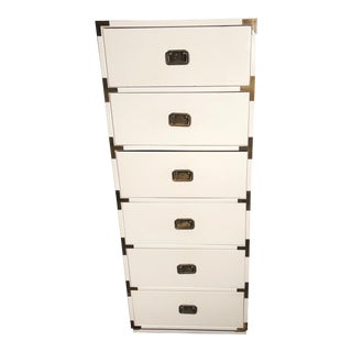Campaign Style White Lingerie Chest of 6 Drawers For Sale