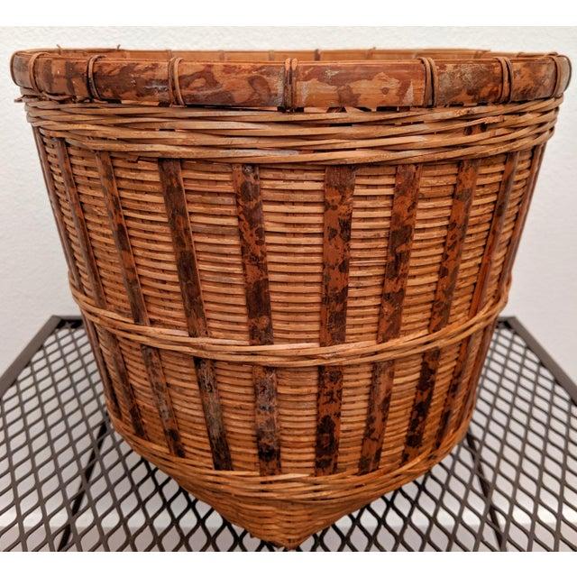 Brown Organic Modern Rattan Planter Basket For Sale - Image 8 of 8