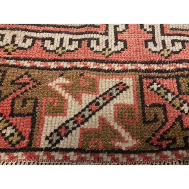 "Vintage Square Pattern Turkish Oushak Rug - 4'2"" x 6' - Image 11 of 11"