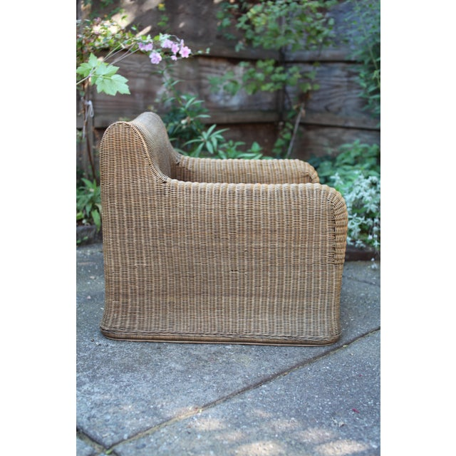 1970s 1970s Vintage Sculptural Wicker Armchairs & Ottomans- 4 Pieces For Sale - Image 5 of 12