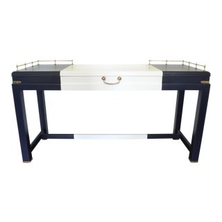Vintage Navy & White Lane Campaign Desk Console