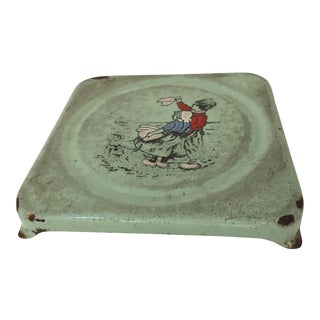 Vintage French Pressed Square Metal Enameled Hand-Painted Trivet For Sale