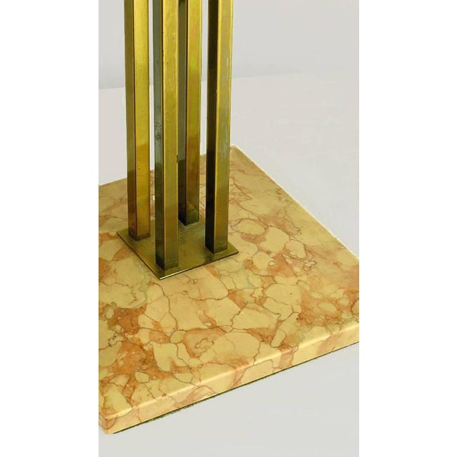 Pair of circa 1950s Stiffel Rouge Marble and Square Brass Columns Table Lamps - Image 5 of 6
