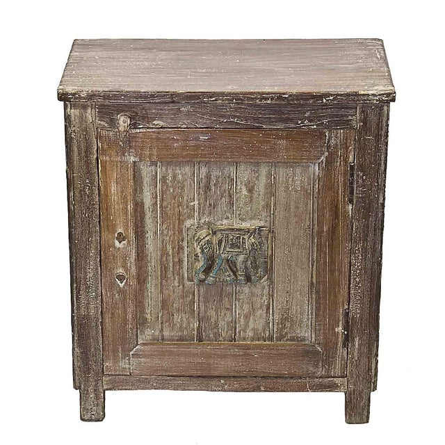 Vintage Teak Nightstand With Hand-Carved Elephant - Image 1 of 3