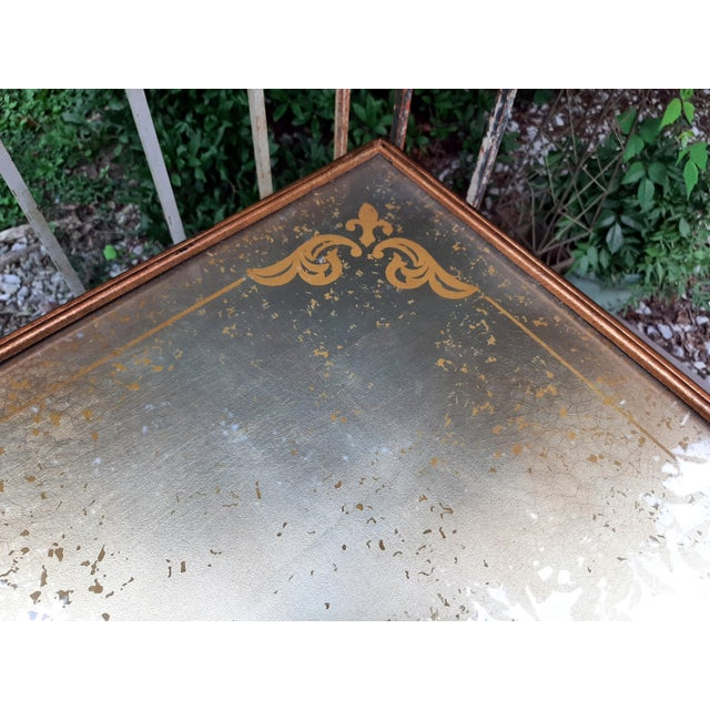 Theodore Alexander Eglomise Gilded Wood and Glass Coffee Table With 3 Drawers and 2 Leather Pull Outs For Sale - Image 12 of 13