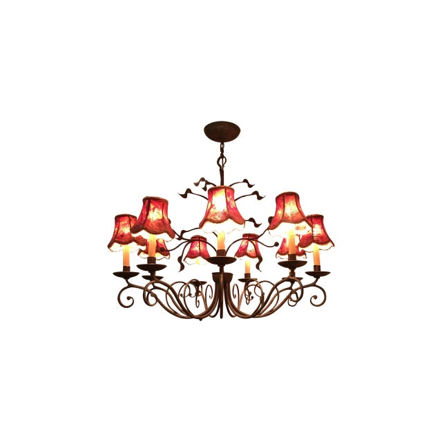 Iron Red And Gold Chandelier - Image 1 of 3