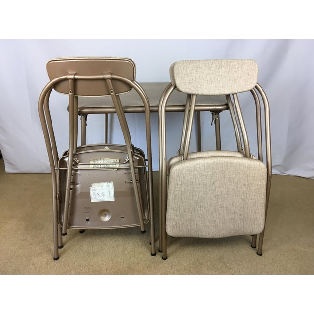 Tan Vintage Stylaire Mid Century Modern Folding Table and Chairs For Sale - Image 8 of 13