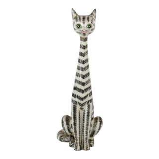 Mid-Century Italian Majolica Tall Ceramic Cat Sculpture For Sale