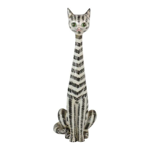 Mid-Century Italian Majolica Tall Ceramic Cat Sculpture For Sale