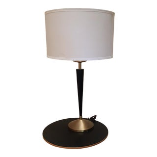 1950s Mid Century Modern Brass and Black Metal Lamp For Sale