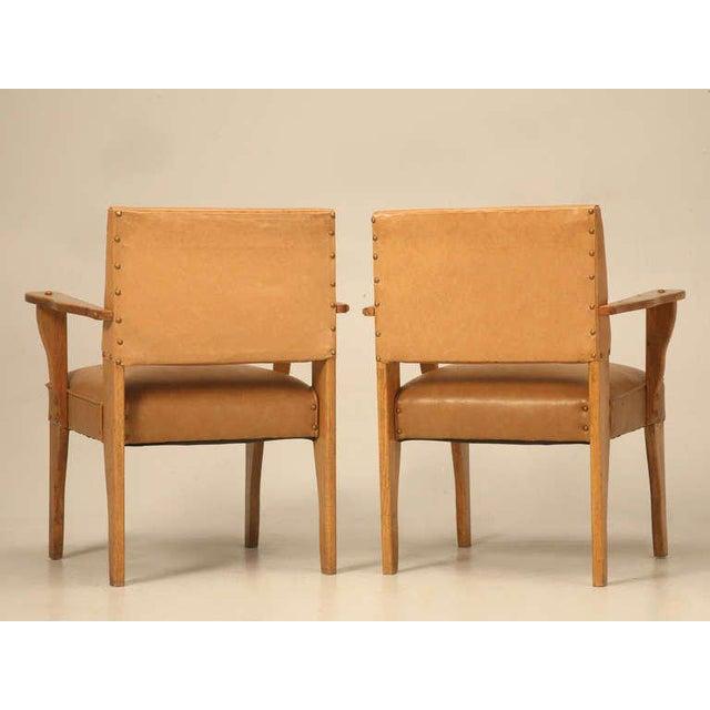 "Magnificent Original ""Ranch Oak"" Cowboy Arm Chairs W/Saddle Decoration - a pair For Sale - Image 9 of 10"