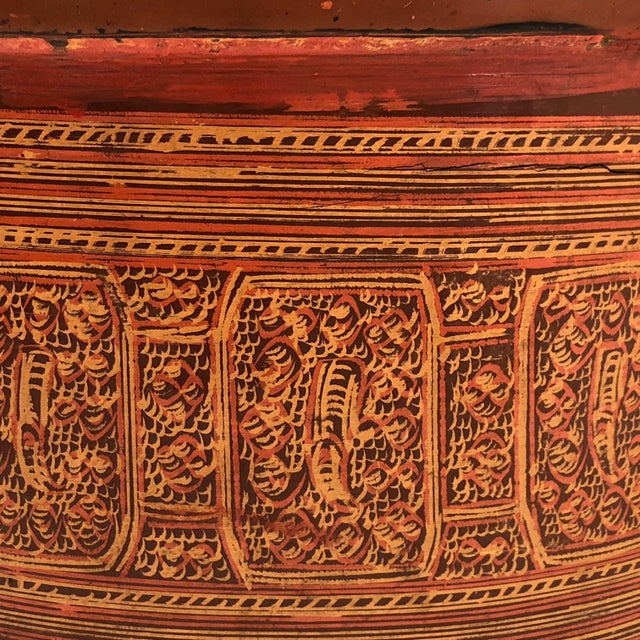 Lacquer Early 20th Century Burmese Lacquer Kun-It Betel Box For Sale - Image 7 of 13