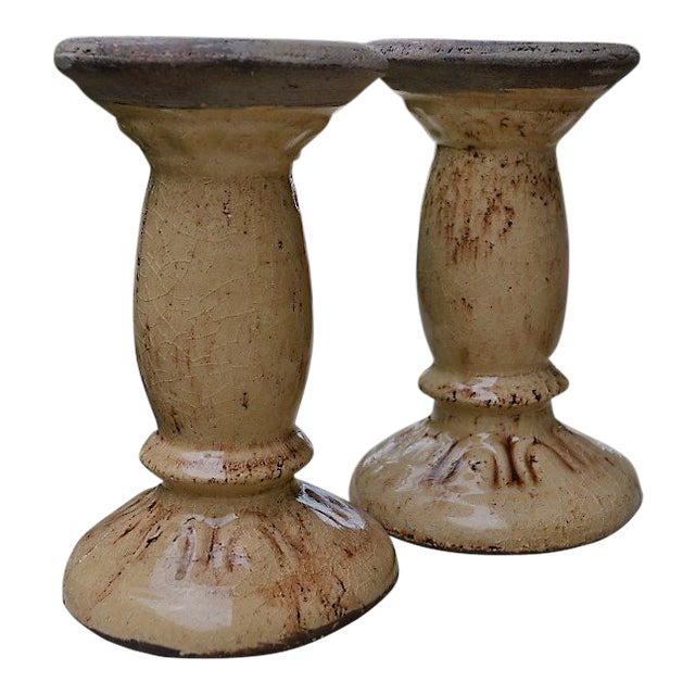 Crackled Glaze Pillar Candle Holders - a Pair For Sale