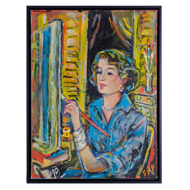 """Abstract Oil Painting on Canvas, """"Self-Portrait"""" by Suzanne McCullough Plowden For Sale"""