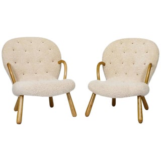 "Pair of Philip Arctander ""Clam"" Chairs For Sale"