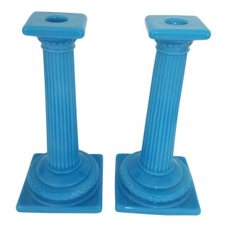1920s American Blue Opaline Glass Classical Column Candlesticks - a Pair For Sale
