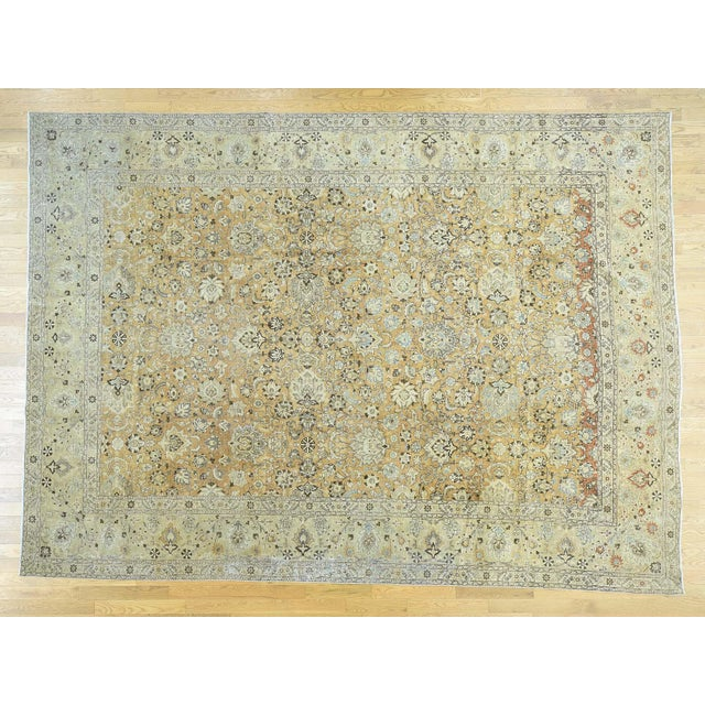 1920s Vintage Hand-Knotted Persian Tabriz Rug - 9′6″ × 13′1″ For Sale - Image 12 of 12