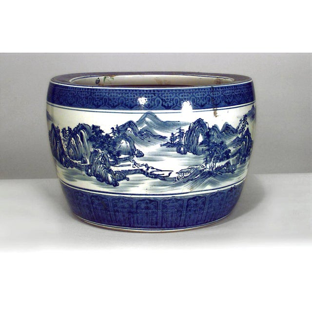 Asian Chinese style (20th Cent) blue and white porcelain jardinieres with scenes (PRICED EACH)