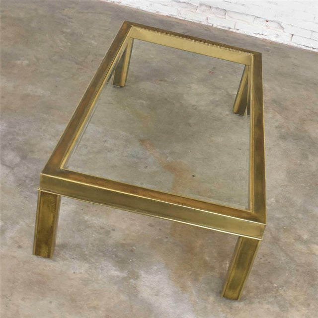 Metal Large Modern Brass & Glass Parsons Style Coffee or Cocktail Table Style Mastercraft For Sale - Image 7 of 13