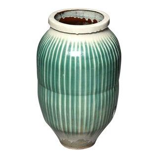 1870s Japanese Shigaraki Ceramic Storage Jar with Celadon Glaze, Meiji Period