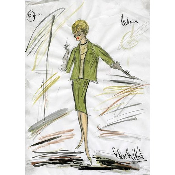 "Contemporary Reproduction Framed Print of Original Costume Sketch by Edith Head for Tippi Hedren ""The Birds"" (1963) For Sale - Image 3 of 4"