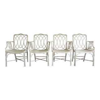 Michael Taylor Regency Faux Bamboo Arm Chairs - Set of 4 For Sale