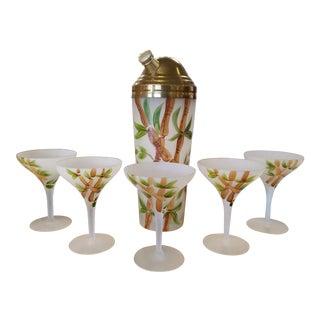 Vintage Hand Painted Shaker & Martini Glasses - Set of 6