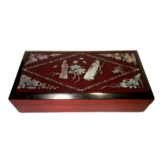 Vintage Mother-Of-Pearl Inlaid Lacquered Box For Sale