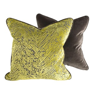 Palm & Velvet Pillows - Pair For Sale