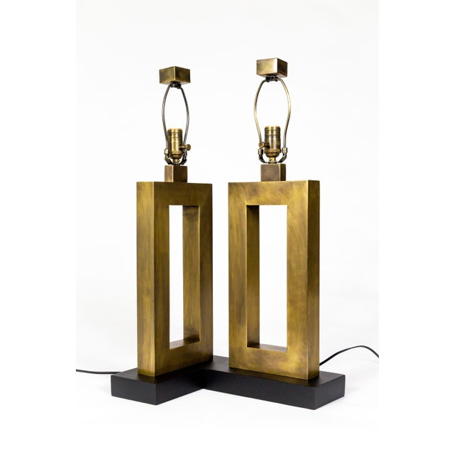 1970s Rectangular Antiqued Brass Table Lamps - a Pair For Sale - Image 9 of 11