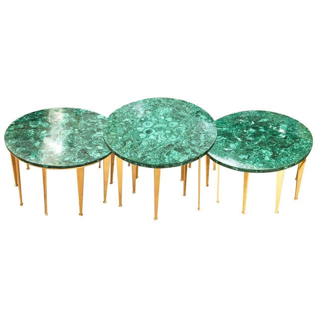 Brass Malachite Coffee Table or Side Tables by formA for Gaspare Asaro For Sale - Image 7 of 7