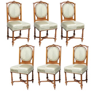 Set of Six English, Edwardian Style Dining Side Chairs with Green Upholstery Fabric For Sale