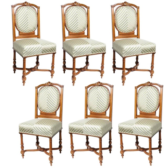 Set of Six English, Edwardian Style Dining Side Chairs with Green Upholstery Fabric - Image 1 of 10