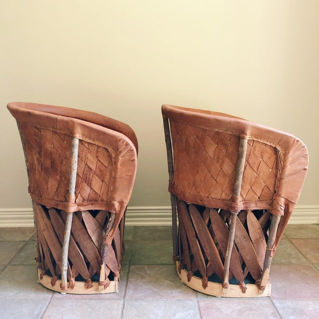 Boho Chic Early 21st Century Vintage Equipale Leather Woven Barrel Back Chairs- A Pair For Sale - Image 3 of 5