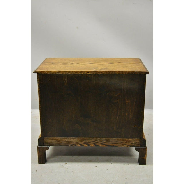 Brown Vintage English Colonial Miniature Oak Wood Small Campaign Chest Side Table For Sale - Image 8 of 10