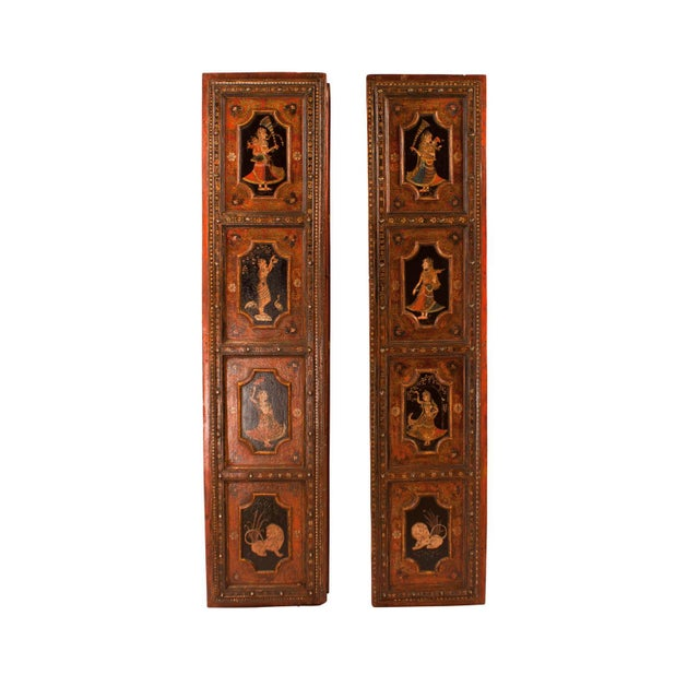 Pair of Indian Painted Palace Doors circa 1830. Decorated on both sides. Purchased from the estate of an Antique Dealer in...