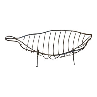 Black Metal Footed Leaf Basket/Bowl For Sale